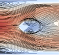 large-scale vortical motions in superfluid thermal counterflow around an obstacle